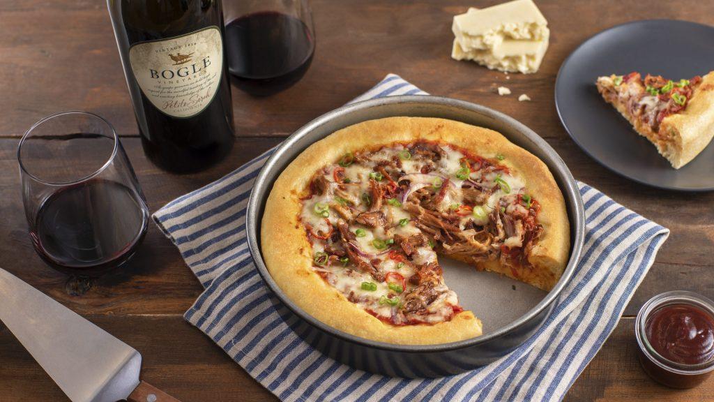 BBQ pulled pork deep dish pizza