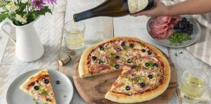 Spicy sopressata olive pizza